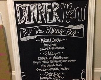 Wedding chalkboard Dinner Menu Chalkboard all in white or for bridal shower or bridal events