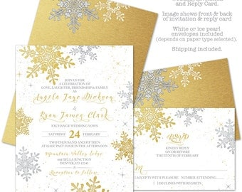 Snowflake Winter Wedding Invitation and RSVP Reply Card Printed Gold Silver White