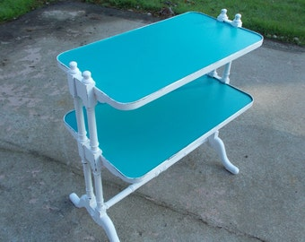 Vintage  Cottage Style Butlers Table / Sea Blue / Distressed - At Ancient of Daze
