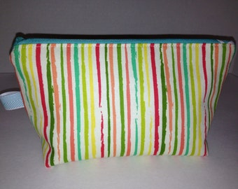 Colorful Stripe Cotton Decorator Fabric Zipper Gadget Bag, Cosmetic Bag, Clutch Bag