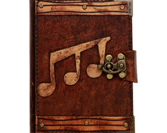Triple Music Note Decoration On A Brown Leather Journal / Notebook / Diary / Sketchbook / Leatherbound