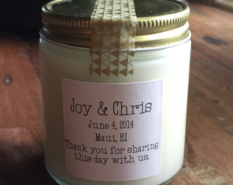 Twenty-five, 4 ounce soy candle wedding favor (style 010)