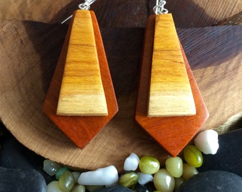 Kinetic layered wood earrings