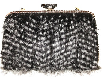 Black & White Faux Fur Purse