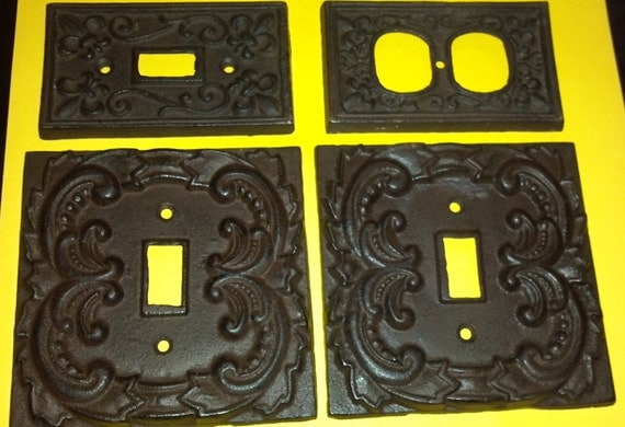 Fleur de lis cast iron switch plate covers 1 plug 1 light 2 - Wrought iron switch plate covers ...