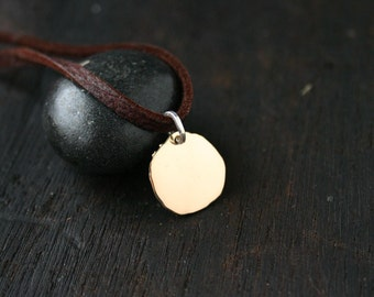 14k gold disc necklace. Gold leather necklace. Gold choker necklace.  Hammered irregular rustic gold disc pendant Handmade jewelry