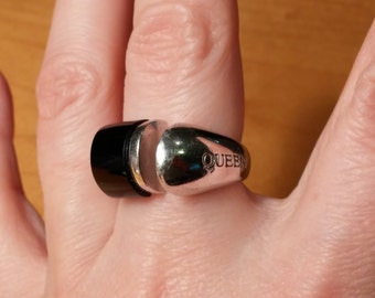 Unique Black Onyx and Sterling Ring Size 7 With Queen Etched in Side