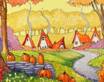 Welcome an October Morning Storybook Cottage Series Print from Original Art
