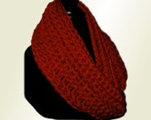RED INFINITY Scarf Cowl Long Hand Made in USA Eternity Scarf Infiniti Scarf Crochet Loop Circle Scarf Chunky Yarn Dark Red Cranberry Scarves