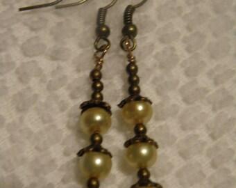 Button Pearl Dangle Earrings