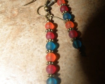 Orange Red and Teal Sea Glass Dangle Earrings with Bronze Accents