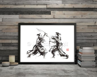 Samurai Akira Kurosawa Japan Style Wall Art Poster Abstract Minimalist Design Art