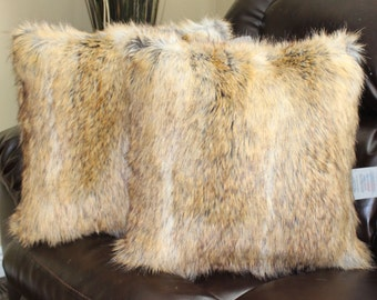 Faux Fur Canadian Fox Honey Pillow Cover 18 x 18 in - Set of 2