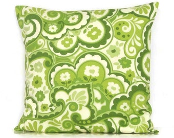 Lime Green Pillow Cover Paisley Chartreuse Decorative Throw Toss Accent Sofa Couch 16x16 18x18 20x20 22x22 12x16 12x18 12x20 14x22 Zipper