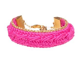 Bracelet KSENA //  Hot Pink and Gold crochet