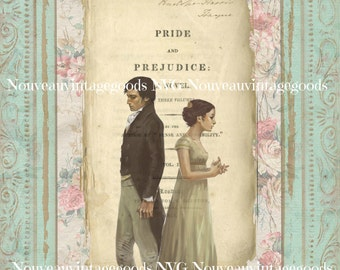 Jane-Austin Digital Image,  Pride and Prejudice Download, Regency Period, Digital Collage Sheet