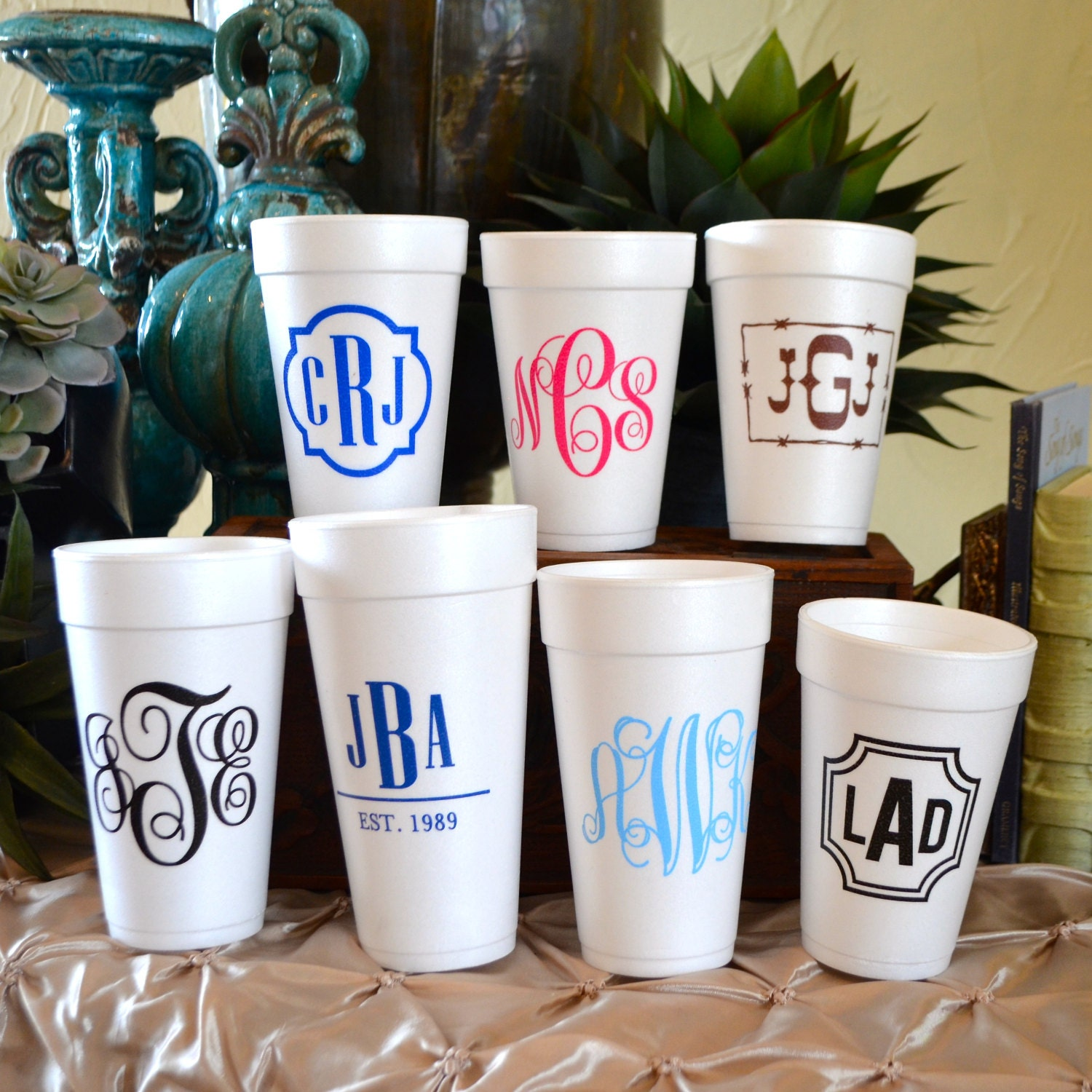 Personalized Monogrammed Styrofoam Cups Customizable Wedding