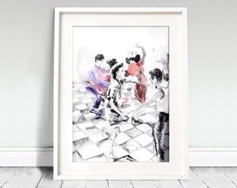Dancing couples portrait. Dancers watercolor art print. Wall art, wall decor, digital print.