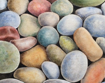 Original watercolor painting stones,wall hanging , home decor
