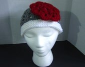 SALE - Handmade Crochet Beanie Hat 2 Tone with Flower