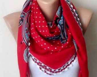 red scarf floral print scarf cotton scarf oya scarf fashion scarf womens scarves boho scarf gift for her