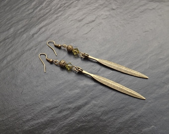 "Earrings ""Alex"" composed of bicones swarovski olive color and brass"