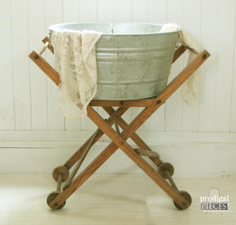 Antique Folding Wooden Laundry Cart With Galvanized Wash Basin