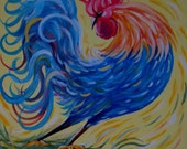 Wall Art, Wall Decor Contemporary 8 x 10 art print by Pamela Henry, Sweet Mornings, colorful rooster, calming