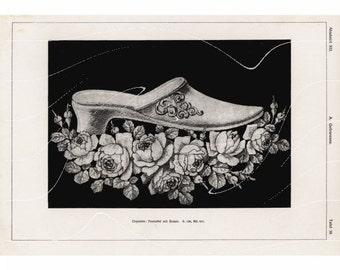 Original Antique Culinary Art Print    Wedding Cake Shoe's Illustratation Chromolithograph original