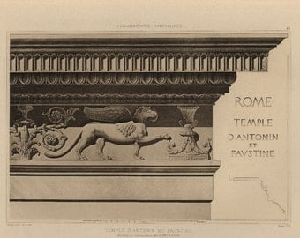 Antique Original Prints of Architectural Elements From Fragments D'Architecture- Temple  Rome  -1905 D'Espouy,