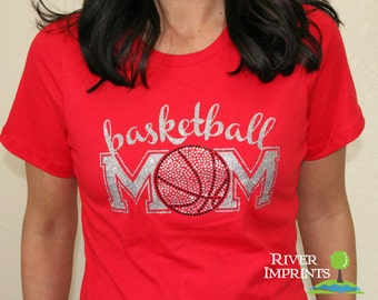 Basketball MOM T-shirt, Super Sparkly Glitter and Rhinestone -- your choice of shirt style