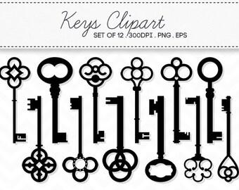 Vintage Key Clipart Vector EPS / Digital Skeleton Keys / INSTANT DOWNLOAD / Clip Art Set of 12 / 121