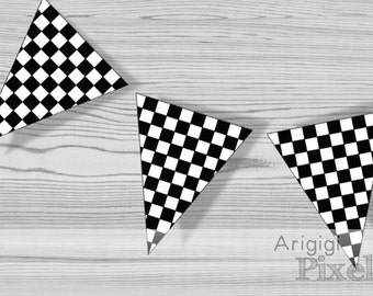 printable checkered pennants, black and white boy birthday party banner, race finish line flags, download