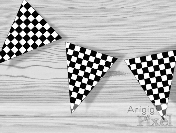 Printable Checkered Party Pennants - black and white - PDF file