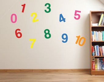 1 to 10 Numbers Wall Stickers Kids Nursery Play Room Home Art Decoration Children's Decals Removable Handmade School Bedrooms Bright VC-A08