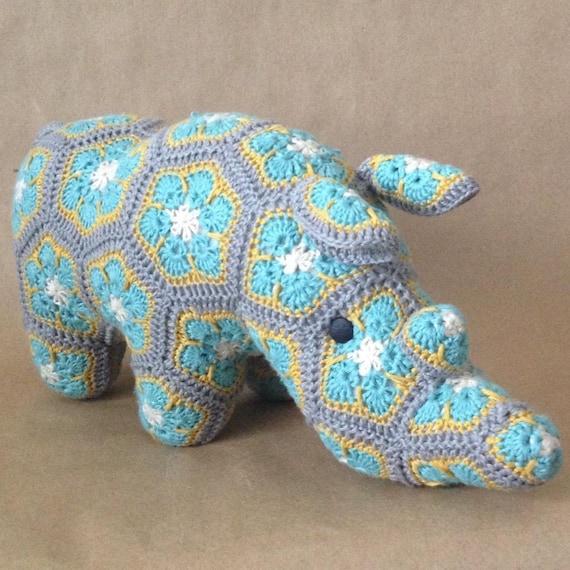 Custom Handmade African Flower Crochet Rhino