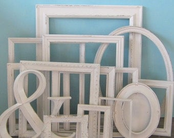 Farmhouse White Distressed Frame Set/ Gallery Wall Frame/ Hand Painted Photo Frames/ Upcycled/ Nursery Frames/ Farmhouse Wall Decor/ Custom