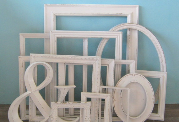 farmhouse white distressed frame set gallery wall frame hand. Black Bedroom Furniture Sets. Home Design Ideas