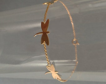 gold-plated bracelet dragonfly