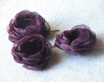Set of 3 purple flowers Purple hair flowers Eggplant hair flower Aubergine flower Purple wedding Eggplant wedding Purple bridemsaids