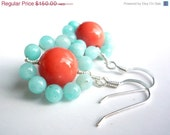 SALE Mint green and coral beaded earrings