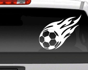 Soccer Ball Flames - Vinyl Decal for Vehicles, Outdoor Signs, and more