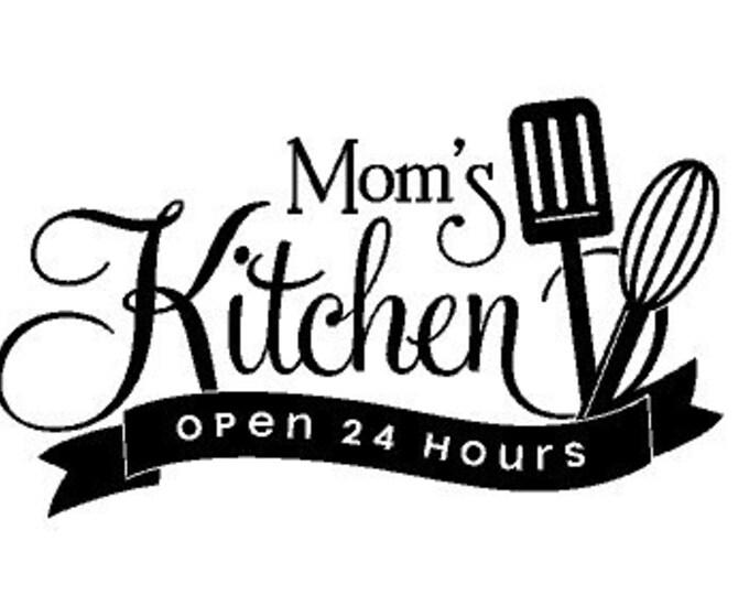 MOM'S KITCHEN - Open 24 Hours - Kitchen Vinyl Wall Art, Vinyl Quote, Mom's Kitchen