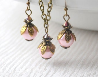 Pink Rustic Bridesmaid jewelry set of necklace and earrings Blush pink jewelry set Bridesmaid gifts Rustic wedding gifts