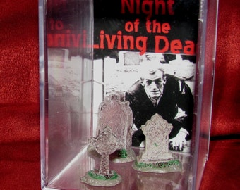 """Night of the Living Dead Collectible Display with Gravestone""""Unique"""" Ready for shipping!"""