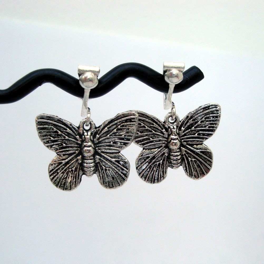 clip on earrings butterfly silver butterflies vintage