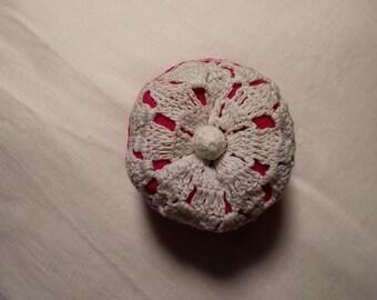 Plump Pink Felt Vintage Doily Pincushion