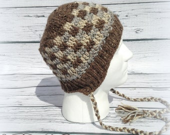 Crochet 4T- Large Adult Patchwork ear flap brimmed beanie hat - Custom made to order
