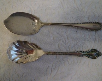 VINTAGE Silverplate TABLEWARE, COTTAGE Teatable.Serving Pieces. Vintage Silverplate Jam and Sugar Spoons. 1930 and 1970