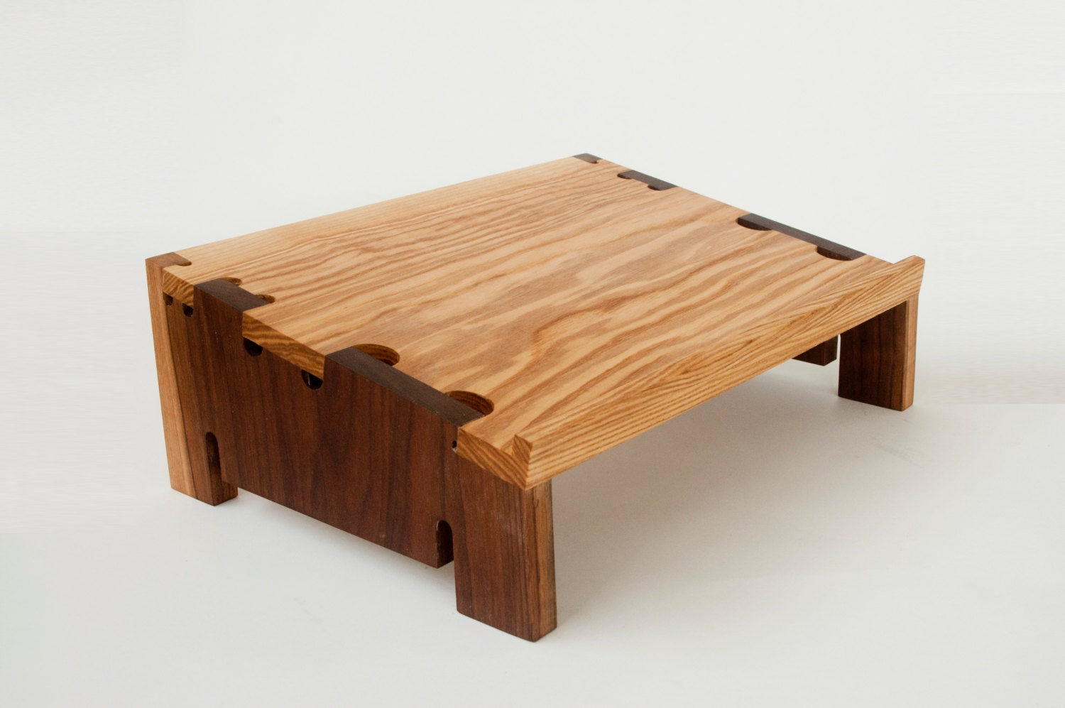 Wood laptop stand in ash and walnut digital joinery design